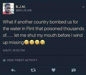 Social media post on Flint vs Syria crisis