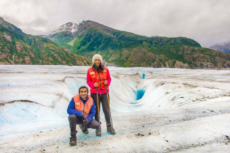 Savi & Vid atop Meade Glacier (Photo courtesy BruisedPassports.com)