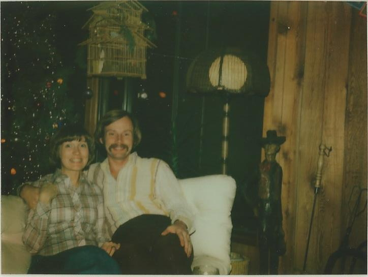 The happy couple's first Christmas surrounded by '70's cedar