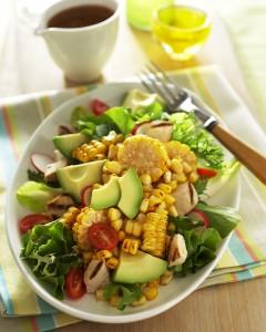 Spicy Roasted Corn, Chicken & Avocado Salad