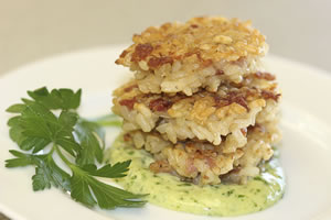 Prosciutto & Asiago Rice Cakes with Pesto Aioli
