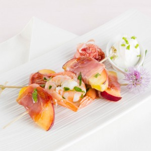 Prosciutto Wrapped Shrimp with Peaches and Yogurt Sauce