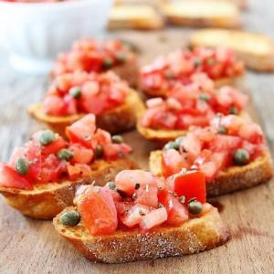 Tomato Caper Mediterranean Bruschetta