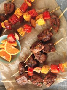 Citrus Marinated Beef & Fruit Kebabs