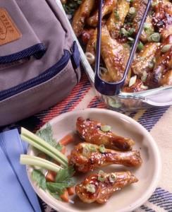 Honey-Mustard Glazed Wings with Scallion-Sesame Confetti (Photo courtesy Pyrex)