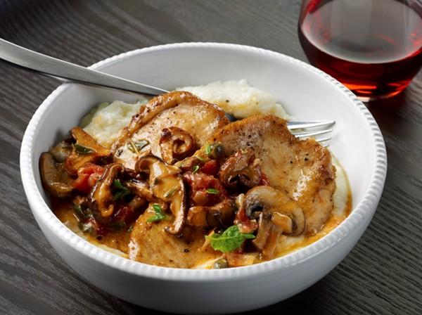 Chicken with Wild Mushrooms & Creamy Garlic Grits (Photo courtesy ...