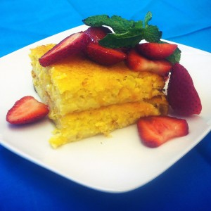 Sweet Corn Pudding with Macerated Strawberries (Photo courtesy Fresh Sunshine Sweet Corn Council)