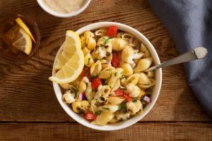 Grilled Cauliflower Pasta with Lemon-Tahini Dressing (Photo courtesy PastaFits.org)
