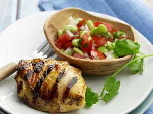 Curry-Lime Chicken Thighs with Tomato-Lima Bean Salsa (Photo courtesy National Chicken Council)