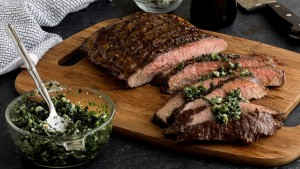 Beer Marinated Flank Steak with Blue Cheese Chimichurri (Photo courtesy McCormick & Co.)