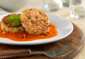 Chef Art Smith's Quinoa Bean Cakes with Roasted Red Pepper Sauce (Photo courtesy Oprah.com)