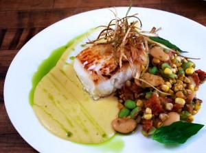 Swordfish over Sweet Corn Succotash (Photo courtesy Fresh Sunshine Sweet Corn Council)
