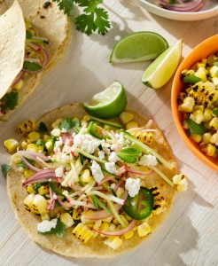 Charred Corn Tacos with Radish-Zucchini Slaw (Photo courtesy Fresh Sunshine Sweet Corn Council)
