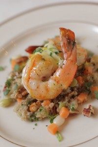 Pickled Shrimp with Sweet Potato Pecan Quinoa and Aioli  (Photo courtesy Chef Jim Smith)