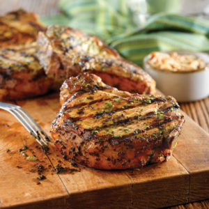 Grilled Pork Chops with Basil-Garlic Rub (photo courtesy National Pork Board and PorkBeInspired.com)