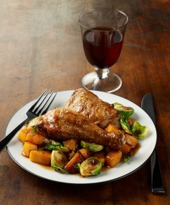 Pan Roasted Honey Dijon Chicken with Butternut Squash and Brussels Sprouts (Photo courtesy National Chicken Council and ChickenRoost.com)