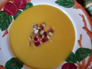 Butternut Squash Pumpkin Soup With Pepita & Bacon Topping