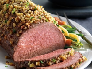 Walnut-Crusted Roast with Blue Cheese Mashed Potatoes (Photo courtesy Cattlemen's Beef Board, National Cattlemen's Beef Association and the Beef Checkoff)