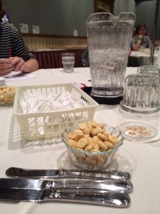 Tools at our judges table - lots of forks, water, and crackers for between the pie bites.