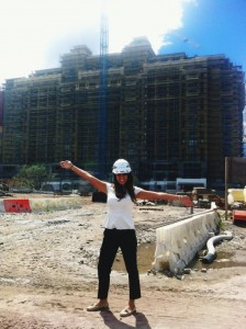 Jenna in her fashionable hard hat, part of the required daily attire during  hotel construction.