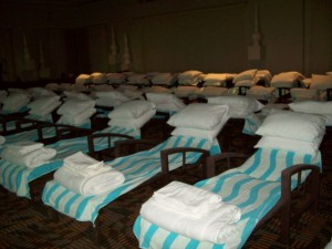 This ballroom was turned into a different type of guest room when filled with cots to sleep on during Hurricane Wilma.