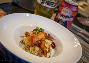 #3 - Coconut Tempura Shrimp served over tropical rice with cilantro sauce, and the beer pairing was Invasion Pale Ale