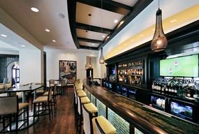 The inviting lobby bar at the Alfond Inn