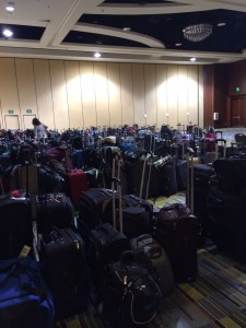 Can you spot your bag? Now you know why those signs at the airport stress that 'all bags look alike. Please check carefully before taking yours.'