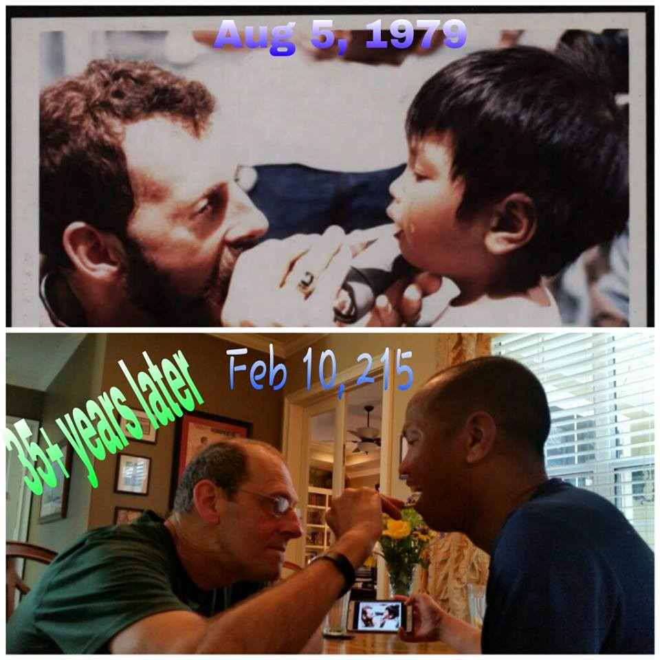 """35 years later, the """"moment"""" is recreated. Same people but, oh, so different lives. Photo courtesy of Doan Ha."""