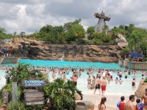 Moderate crowd at Typhoon Lagoon.