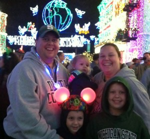 Our family enjoying the Osborne Family Spectacle of Dancing Lights at Disney's Hollywood Studios. (Photo Credit: Lynn Wiltse)