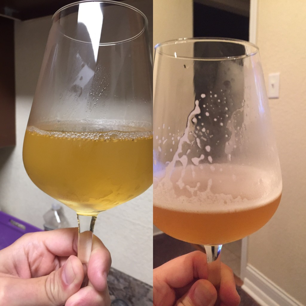 Left: BOMM mead Right: Creamy saison