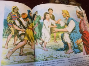 Jesus teaches the little children