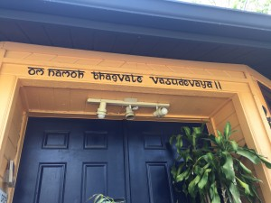 Om namo bhagavate vasudeva read the mantra above the door at AyurBeauty Wellness Center in Orlando.