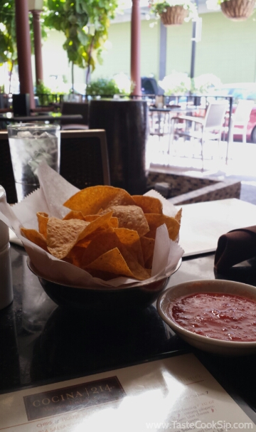 Fresh salsa and chips are quickly delivered.