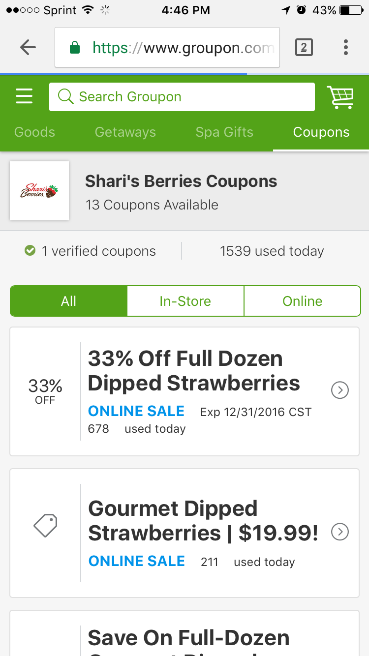 Shari's coupons